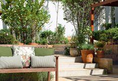 A escada dá acesso ao primeiro patamar do jardim, onde estão a horta e o limoeiro (8) – este, crescendo forte a pleno sol. O banco de madeira é da L'Oeil