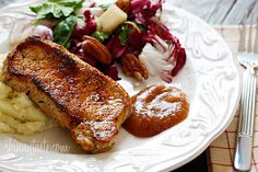Pork Chops and Applesauce | Skinnytaste.  Servings: 4 • Size: 1 chop, 2 tbsp applesauce • Old Points: 4 pts • Points+: 4 pts Calories: 180 • Fat: 8.2 g • Protein: 20.3 g • Carb: 4.8 g • Fiber: 0.3 g • Sugar: 1.5 Sodium: 29.3 mg