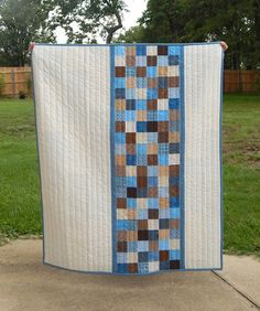 Modern Baby Boy Quilt Crib Quilt Patchwork Blue and Brown Backing A Quilt, Strip Quilts, Scrappy Quilts, Quilting Fabric, Quilt Blocks, Charm Pack Quilts, Charm Quilt, Baby Quilt Patterns, Quilt Modernen
