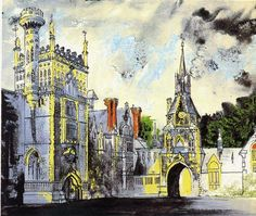 Environmental Structure-John Piper, Shadwell Park, Screenprint, x cm John Piper Artist, Coventry Cathedral, Stained Glass Windows, Collage Art, Printmaking, Big Ben, Screen Printing, Cities, Mixed Media