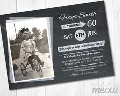 Surprise Birthday Invitations Photo INVITE Mens by wowwowmeow