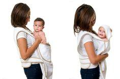 Make baby bath times easier ingenious Pouchi apron towel, now just £15!
