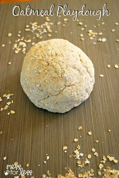 Oatmeal Playdough Recipe - Just 3 Ingredients to make this edible dough. So simple to make with kids!use in place of salt dough maps! Playdough Activities, Infant Activities, Activities For Kids, Tactile Activities, Toddler Play, Toddler Crafts, Infant Crafts, Toddler Stuff, Oatmeal