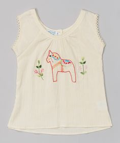 Natural Dalahäst Embroidered Top - Infant, Toddler & Girls | zulily