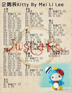 Amigurumi Hello Kitty in Tuxedo Sam costume Crochet Dolls Free Patterns, Crochet Doll Pattern, Crochet Chart, Crochet Motif, Amigurumi Patterns, Doll Patterns, Kawaii Crochet, Cute Crochet, Hello Kitty Crochet