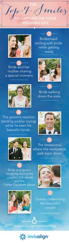 Putting together a shot list for your wedding?    Make sure to have these 7 smile shots on your list for your wedding photographer!