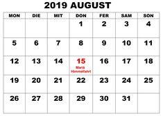 August Kalender Stile 2019 Mit Feiertagen August Kalender, Holiday, Printing