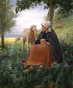 Realisme Georges François P. Laugée (1853 - 1937) Bergere et Mouton Oil on canvas 24 x 20 inches