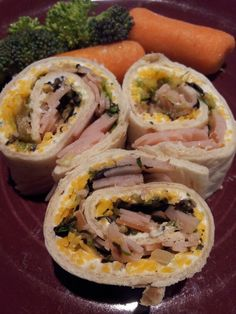 Ranch Roll Ups 1 packet Hidden Valley Ranch, 1 cup sour cream, 1 cup cream cheese, ½ cup Miracle Whip (used Mayo) Beat until creamy. Spread on tortillas.   Chop up turkey slices and/or ham slices along with shredded lettuce and shredded cheese.  Roll up tightly, I roll each in plastic wrap to hold.  Refrigerate for about an hour until set.  Cut and serve