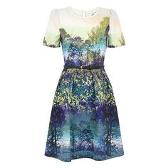 Uttam Boutique Trees and bluebell print dress Cute Dresses, Cute Outfits, Summer Dresses, Girly Outfits, Queen Dress, Dress Picture, Flare Dress, Tie Dye Skirt, Short Sleeve Dresses