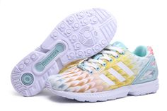 2015 Over 57% off Shoes For Cheap Adidas WMNS ZX Flux Multicolor Brown Yellow Blue White