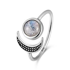 Sweet Romantic Moon Adjustable Rings With Natural Moonstone For Women 925 Sterling Silver Fine Jewelry Mother's Day Gift Silver Wedding Jewelry, Rose Gold Jewelry, Fine Jewelry, Wedding Rings, 925 Silver, Sterling Silver Rings, Chrome Hearts Ring, Jewelry Stores Near Me, Open Ring