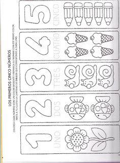 Alicia Melilla - Google+ Kindergarten Math Worksheets, Learning Activities, Preschool Activities, Kids Learning, Homeschool Worksheets, Math For Kids, Lessons For Kids, Spanish Teaching Resources, Printable Numbers