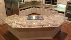 Nice Light Colored Granite Kitchen Countertops — Room Decors and Design Cost Of Granite Countertops, Kitchen Cabinets And Countertops, Bathroom Countertops, White Kitchen Cabinets, Kitchen Flooring, Kitchen Backsplash, Backsplash Ideas, Kitchen Cupboard, Modern Kitchens