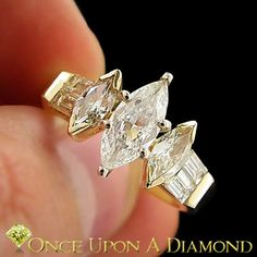 1 20ctw Three Stone Marquise Diamond Engagement Ring w Accents Yellow Gold | eBay