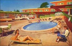 I loved going to motels.  The pools were barely big enough to hold us all but we piled in!  Not too soon after eating,  of course!. Love the cars!