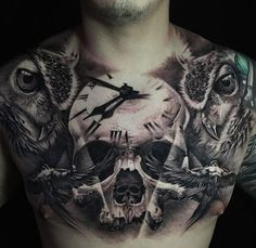 Chest Tattoo With Skull, Clock & Owls