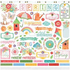 Photo Play Paper - Spring in My Garden Collection - 12 x 12 Cardstock Stickers - Elements Printable Scrapbook Paper, Scrapbook Stickers, Printable Stickers, Free Printable, Hello Spring, Spring Day, Affirmation Cards, Holly Hobbie, Make Happy