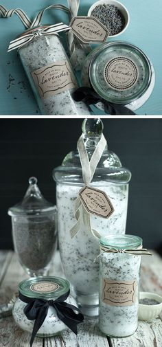 Printable Lavender Bath Salt Labels | Click Pic for 24 DIY Christmas Gift Ideas for Friends | DIY Christmas Gift Ideas for Women