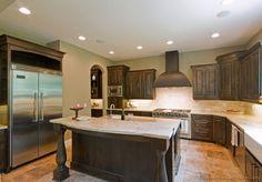 Traditional Dark Wood-Walnut Kitchen Cabinets (Kitchen-Design-Id. Antique Kitchen Island, Solid Wood Kitchen Cabinets, Solid Wood Kitchens, Brown Kitchens, Rustic Cabinets, Cool Kitchens, Tan Kitchen, Tuscan Kitchens, Walnut Cabinets