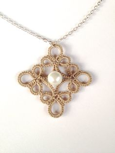 Beige tatted pendant necklace  lace pendant  square by SILHUETTE, Ft3150.00