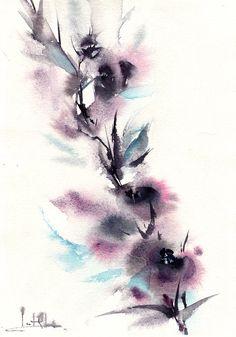 Mauve fleurs peinture abstraite peinture aquarelle ORIGINALE