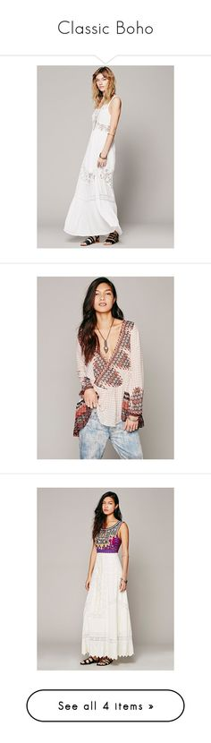 """Classic Boho"" by freepeople ❤ liked on Polyvore featuring tops, tunics, ivory combo, see through tops, free people tops, neck ties, free people tunic, neck-tie, dresses and ivory"