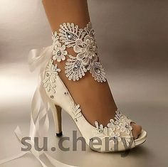 3-034-4-heel-white-ivory-satin-lace-ribbon-open-toe-Wedding-shoes-bride-size-5-9-5