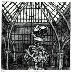 Architecture 1 an etching of a T Rex skeleton by philippaJones, $80.00