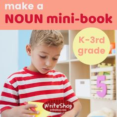 For a fun homeschool activity, make a noun mini-book with your primary-age children to introduce or practice with the concept of nouns. How To Teach Grammar, Teaching Grammar, Collective Nouns, Writing Curriculum, Old Magazines, Kids Writing, Mini Books, Kindergarten, Homeschool