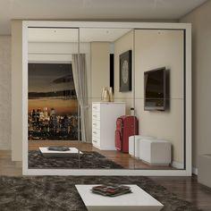 Charme no quarto é com este #guardaroupa maravilhoso! Os #espelhos deixam o ambiente super lindo! #MadeiraMadeira