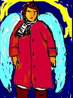 Gammel dame i rød frakke  Drager herfra