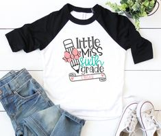 Head back to school in a super cute school shirt personalized just for you!! This adorable design is sure to be a big hit with your little Miss on the first day of school. Our soft, light-weight cotton/poly tees are a MUST HAVE this Fall. **Available in 3 style options (sizes 2T - Youth Large). First Day Of School, Back To School, Thanksgiving Baby, Schools First, Personalized Shirts, Soft Light, Little Miss, Custom Clothes, Shirts For Girls