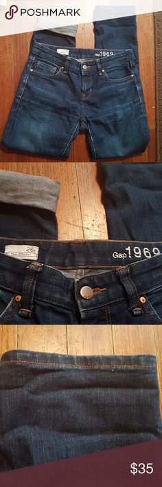 GAP 1969 JEANS ✔Great used condition!! ✔Dark blue ✔Real straight 26s ✔Look at all the pictures. Have more questions!? Let me know!! ✔Measurements, Waist: 15 inches aprox. Lenghth: 36inches. Skinny! ✔I ship fast. ✔Smoke free house. ✔bundle for more savings  GAP Jeans Skinny