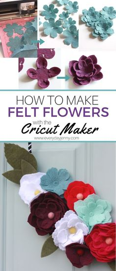 How to make felt flowers with your Cricut Maker. How to make felt flowers with your Cricut Maker. Flower Crafts, Diy Flowers, Fabric Flowers, Paper Flowers, Paper Butterflies, Felt Flower Template, Felt Flower Tutorial, Bow Tutorial, Felt Flower Wreaths