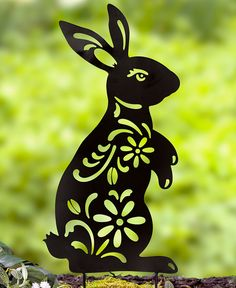 Animal Silhouette Stakes Choice of Cat, Dog, Bunny, or Frog (Bunny) Rabbit Silhouette, Animal Silhouette, Silhouette Art, Silhouette Portrait, Metal Yard Art, Metal Art, Decorative Garden Stakes, Rabbit Garden, Yard Ornaments