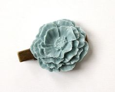 Vintage Style Beautiful Large Light Blue Hair Clip Antique Bronze Tone for Adults Formal Girls Wedding Bridesmaids