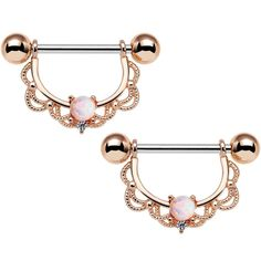 """5/8"""" White Synthetic Opal Rose Gold Plated Scalloped Nipple Ring Set"""