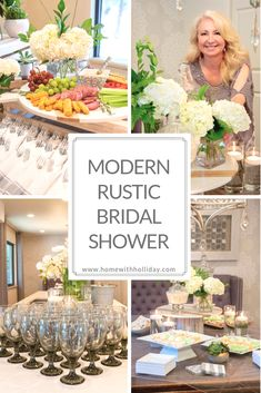 Tis the season for weddings and bridal showers! Stop by and see all of the details of this Modern Rustic Bridal Shower I hosted for a very special bride! Bridal Shower Table Decorations, Bridal Shower Tables, Elegant Bridal Shower, Bridal Showers, Rustic Chic, Modern Rustic, Chic Wedding, Wedding Ideas, Handmade Wedding