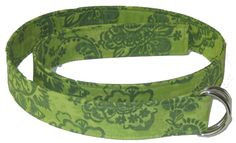 Earthy Green Paisley Fabric D Ring Belt | oliver green D Ring Belts