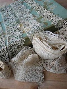 3 lengths antique French handmade bobbin lace + 2 Schiffli lace trim