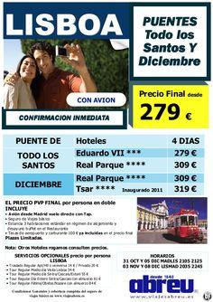 Lisboa PUENTE de Todos los Santos y de Diciembre con avion desde Madrid 4 dias desde 279 pvp final - http://zocotours.com/lisboa-puente-de-todos-los-santos-y-de-diciembre-con-avion-desde-madrid-4-dias-desde-279-pvp-final/
