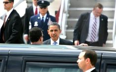 President Barack Obama arrives at Portsmouth International Airport at Pease in Portsmouth, N.H. , Tuesday, Aug. 11, 2009, prior attending a town hall in Portsmouth tol discuss the need for health insurance reform for the future of our economy and the health of our communities.