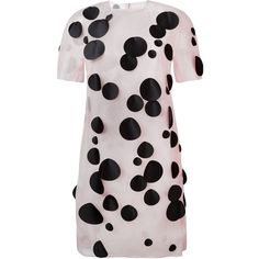 Paskal Dots Applications Shift Dress ($678) ❤ liked on Polyvore featuring dresses, polka dot dress, pink dot dress, dot print dress, dot dress and nude dress