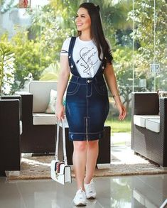 Jean Dress Outfits, Paris Outfits, Curvy Outfits, Modest Outfits, Classy Outfits, Casual Dresses, Casual Outfits, Girls Fashion Clothes, Women's Fashion Dresses