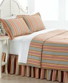 Ralph Lauren Rhys Stripe Queen Comforter Bed In A Bag Set Red/Gray/Yellow by Ralph Lauren. $258.95. Stripes are in shades of grey, red, orange, and yellow.. All are machine washable.. Set includes: One comforter, two standard pillow shams, one king bedskirt.. Measurements: comforter 94 x 96 inches, shams 20 x 26 inches, bedskirt 60 x 80 inches.. One Queen-size Rhys Stripe comforter set.. Cool, crisp, classic. Featuring allover stripes with seasonless appeal, the Lau...