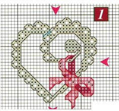 crochet home: Hearts Embroidery 123 Cross Stitch, Cross Stitch Boards, Cross Stitch Heart, Cross Stitch Alphabet, Modern Cross Stitch, Counted Cross Stitch Patterns, Cross Stitch Designs, Embroidery Hearts, Cross Stitch Embroidery