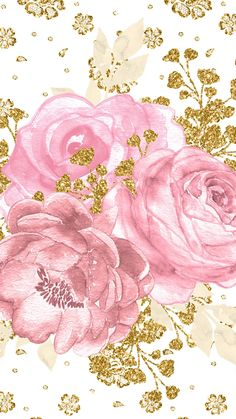By Artist Unknown. Background Drawing, Collage Background, Flower Background Wallpaper, Cute Wallpaper Backgrounds, Flower Backgrounds, Pretty Wallpapers, Phone Screen Wallpaper, Iphone Wallpaper, Rose Gold Wallpaper
