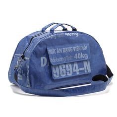 Blue recycled duffle bag.