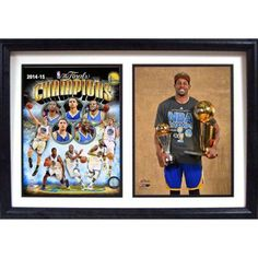 12 inch x 18 inch Double Frame, 2015 NBA Champions Golden State Warriors